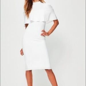 White Frill Overlay Shoulder Dress from Missguided